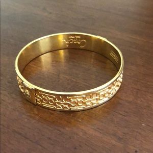 COACH Gold Signature Monogrammed Bangle